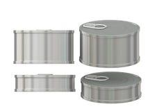 Breve barattolo di latta di alluminio in bianco cilindrico con la linguetta di tirata, clippin Immagine Stock