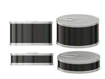 Breve barattolo di latta nero in bianco cilindrico dell'etichetta con la linguetta di tirata, clip Immagine Stock