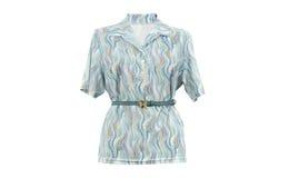Breve camicia della donna della manica con una cinghia isolata su fondo bianco Fotografia Stock Libera da Diritti