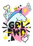 Breve citazione di GRL PWR Illustrazione sveglia del disegno della mano di potere della ragazza royalty illustrazione gratis