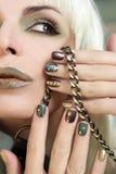 Breve verde di marrone del manicure Fotografia Stock Libera da Diritti