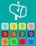 Brevlåda med bokstavssymbolen med färgvariationer Arkivfoton
