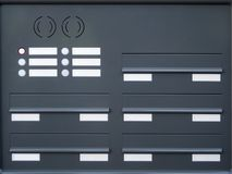 BrevlådaID-Märken och klockaknappar fotografering för bildbyråer