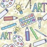 brevpapper Ämnen för kreativitet Seamless bakgrund royaltyfri illustrationer