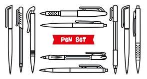 Brevpappersamling anteckningsbokpennan tools writing Inställda pennor Översiktsstil Tunn linje vektorsymboler för kulspetspenna B Royaltyfri Foto