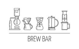 Brew bar. Set vector black line icons of coffee brewing methods. Siphon, pour over, chemex, french press, aeropress. Flat design. Vector illustration royalty free illustration