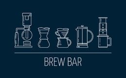 Brew bar. Set of vector white linear icons about coffee brewing methods. Siphon, pour over, french press, aeropress. Flat design. Vector illustration royalty free illustration