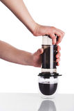 Brew coffee in aeropress Stock Images