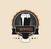 Brew House Vintage Logotype on light background. For Beer House, Brewing Company, Beer House, Pub, Bar. Can be used to design business cards, posters, posters vector illustration