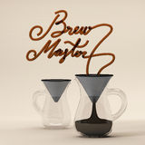 Brew master coffee quote with glass 3D rendering Royalty Free Stock Photos