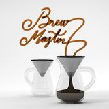 Brew master coffee quote with glass 3D rendering Stock Images