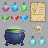 Brew a potion magic set of icons. Collection of items to brew a magic potion. Witch accessories for making health, manna and other elixirs, cauldron, magic royalty free illustration