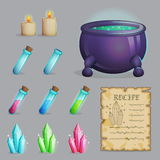 Brew a potion magic set of icons Royalty Free Stock Photography