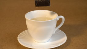 Brew teabag in Cup of tea stock footage