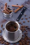 Brewed coffee and beans Royalty Free Stock Photo