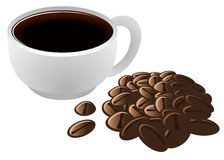 Brewed Coffee in Cup and Coffee Beans Stock Photo