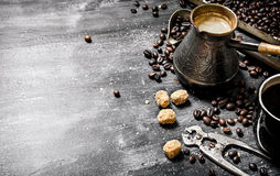Brewed coffee pot with sugar Royalty Free Stock Photo
