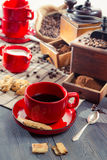 Brewed coffee served in a red cup Stock Photo