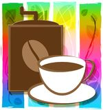 Brewed Coffee Shows Restaurant Roasted And Cafe. Brewed Coffee Cup Shows Restaurant Roasted And Cafe royalty free illustration