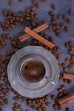 Brewed coffee in vintage cup. Top view Stock Photo