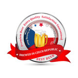 Brewed in Czech Republic - Premium Beer, Satisfaction Guaranteed. Ribbon advertising for pubs, clubs, restaurants and breweries. Contains beer mug and the Czech royalty free illustration