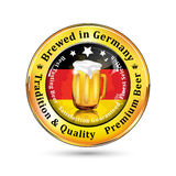 Brewed in Germany, Tradition and Quality. Premium Beer icon / sticker advertising for pubs, clubs, restaurants and breweries. Contains beer mug and the flag of royalty free illustration