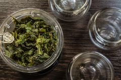 Brewed tea leaves. Brewed green tea leaves and cups stock images