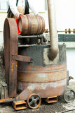 Brewer with beer barrel in brewery Royalty Free Stock Photography