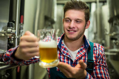 Brewer holding a glass of pint beer royalty free stock image