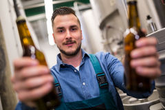 Brewer holding two beer bottle stock image