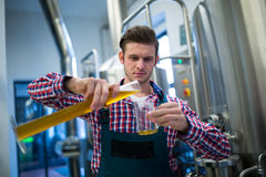 Brewer pouring beer in pint glass stock images
