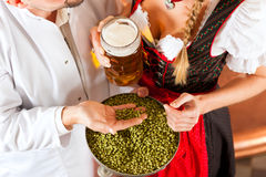 Brewer and woman with beer glass in brewery Stock Image