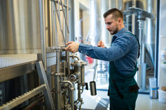 Brewer working at brewery Royalty Free Stock Photos