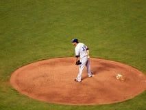 Brewers Pitcher Yovani Gallardo stands on mound holling base bal Stock Photography