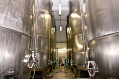 Brewery. Storage Tank on modern brewery Royalty Free Stock Image