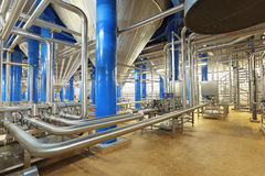 Brewery. Brewing production - fermentation department, the interior of the brewery, nobody Stock Photos