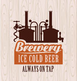 Brewery. Banner with picture of the brewery on the background of wooden boards stock illustration