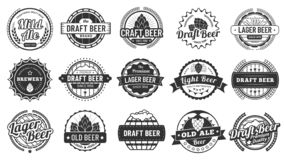 Brewery beer badges. Craft beers emblems, hop lager and pub hops badge isolated vector illustration set stock illustration