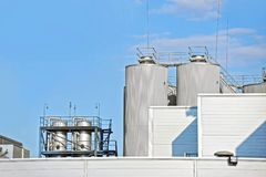 Brewery beer processing silos Royalty Free Stock Images