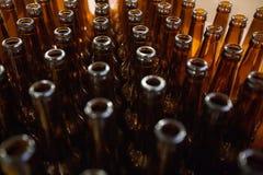 brewery Bottiglie di birra di vetro vuote, la vista superiore fotografia stock libera da diritti