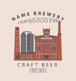 Brewery building in retro style Stock Images