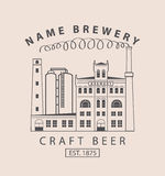 Brewery building in retro style Royalty Free Stock Image