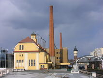 Brewery in the Czech Republic. Brewery with brick chimney in the Czech Republic Stock Photo