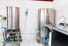 Brewery detail. Industrial detail of a small brewery dedicated to premium production of beer Royalty Free Stock Image
