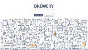 Brewery Doodle Concept. Doodle vector illustration of a brewer with a glass of beer. Concept of brewery, craft beer production for web banners, hero images vector illustration