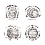 Brewery emblem. Barrel of beer and wine, whiskey and brandy sketch vector vintage labels with wooden cask and. Typographic design. Cask beer, wine and whiskey royalty free illustration