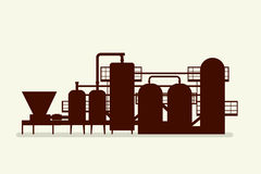 Brewery equipment silhouette Royalty Free Stock Images