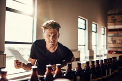 Brewery factory worker examining the quality of craft beer. Young man inspector working on alcohol manufacturing factory checking the beer bottles Royalty Free Stock Photography
