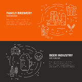 Brewery Flyers. Modern line art design with different beer and brewery symbols. Vector art. Flyer and banner collection. Octoberfest series Royalty Free Stock Photo