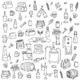 Brewery icons. Hand drawn doodle set of Brewery icons. Vector illustration set. Cartoon Craft Beer production symbols. Sketchy brewing elements collection: pub Stock Photos